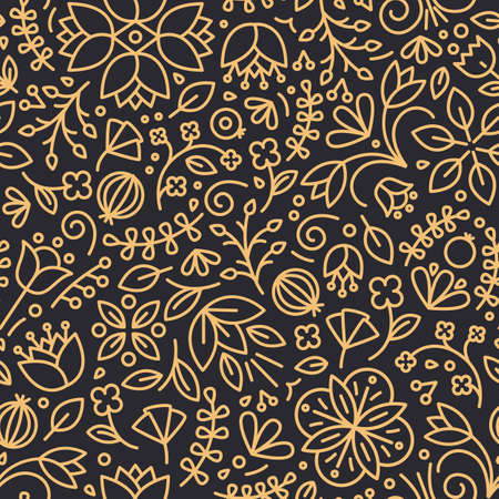 Floral seamless pattern with blooming wildflowers and berries drawn with contour lines on black background. Natural backdrop with meadow flowers. Vector illustration in linear style for wallpaper