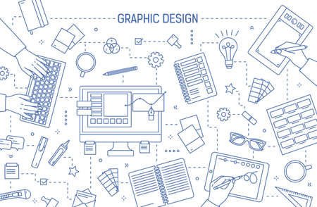 Banner template with graphic design or digital art tools, hands of designers typing on keyboard or drawing on tablet drawn with contour lines on white background. Vector illustration in linear style. 向量圖像