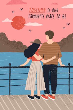 Plantilla de postal con adorable pareja de enamorados de pie en el terraplén y viendo la puesta de sol y una cita romántica. Hombre joven y mujer en cita. Ilustración de vector de dibujos animados plana para el día de San Valentín Ilustración de vector