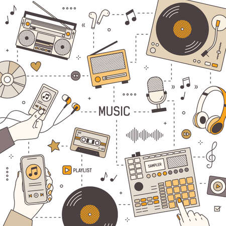 Square banner template with hands and devices for music playing, recording and listening - radio receiver, boombox, player, microphone, headphones, turntable. Vector illustration in linear style