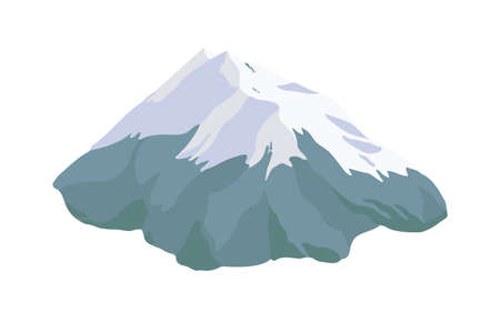Mountain peak, top or summit covered with snow, ice or glacier isolated on white background. Rocky cliff or high mount, landform, geographic landmark. Colorful realistic vector illustration