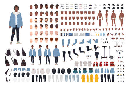 African American guy in street style outfit constructor set or DIY kit. Bundle of body parts, trendy clothes and accessories. Male cartoon character. Front, side, back views. Vector illustration
