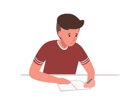 Cute young boy sitting at desk and writing school test isolated on white background. Student preparing for exams at university or studying. Colorful vector illustration in flat cartoon style Illusztráció