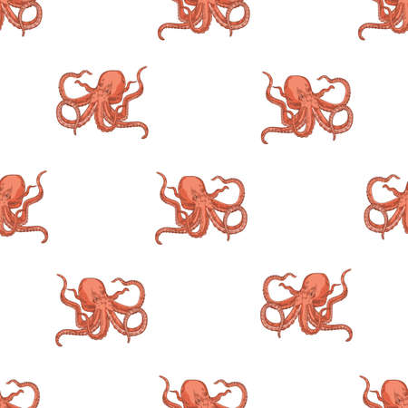 Seamless pattern with octopus on white background. Backdrop with marine animal or mollusc with tentacles, deep sea creature, underwater inhabitant, ocean monster. Realistic vector illustration