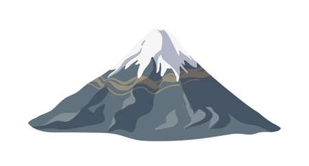 Mountain with ice or snow on top of it and rocky slope isolated on white background. Landform or natural landmark for adventure travel and mountaineering. Colorful realistic vector illustration Stock Illustratie