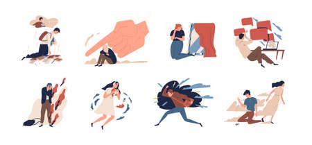 Collection d'adolescents en situation de stress ou de problèmes psychologiques d'adolescents - dépression, anxiété, stress à l'école, séparation d'avec les parents, colère, désespoir. Illustration vectorielle de dessin animé plat