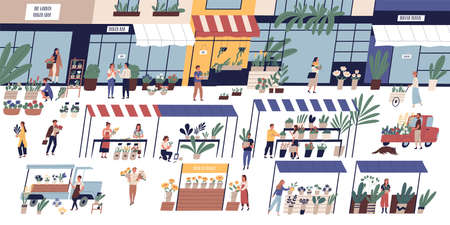 Outdoor flower market with happy tiny people or customers walking among stalls, florists selling bouquets and potted plants, floristic shops or stores. Flat cartoon colorful vector illustration