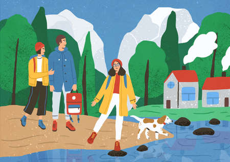 Group of cute happy friends hiking or backpacking in forest or woods at river or lake. Young smiling tourists or backpackers on walk or adventure travel. Flat cartoon colorful vector illustration
