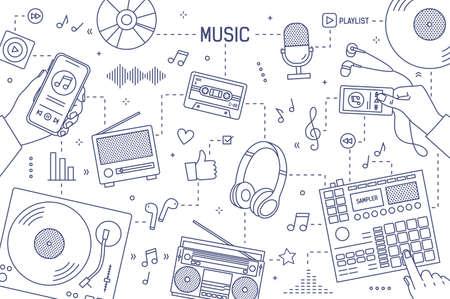 Modèle de bannière horizontale monochrome avec mains et appareils pour la lecture, l'enregistrement et l'écoute de musique dessinés avec des lignes de contour sur fond blanc. Illustration vectorielle moderne dans le style d'art en ligne