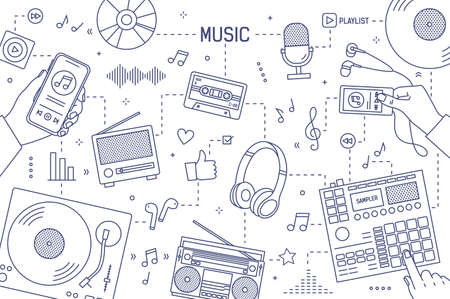 Monochrome horizontal banner template with hands and devices for music playing, recording and listening drawn with contour lines on white background. Modern vector illustration in line art style
