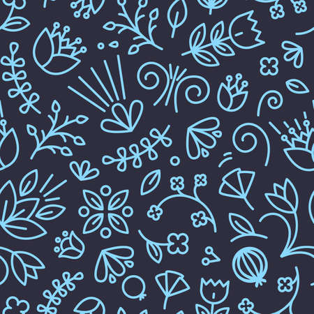 Natural seamless pattern with summer flowers and berries drawn with contour lines on black background. Backdrop with meadow vegetation. Modern vector illustration in linear style for wrapping paper