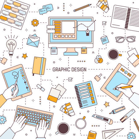 Square banner template with graphic design or digital art tools, designers typing on keyboard or drawing on tablet, stationery or office supplies. Vector illustration in modern line art style.