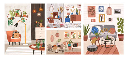 Collection of interiors with stylish comfy furniture and home decorations. Bundle of cozy living rooms or apartments furnished in trendy Scandinavian hygge style. Flat colorful vector illustration