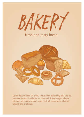 Flyer or poster template with different types of fresh, tasty bread, pastry or baked products and place for text. Realistic hand drawn vector illustration for bakery, bakeshop or bakehouse promotion