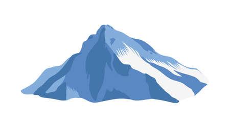 Crête de montagne avec sommet ou sommet recouvert de glace isolé sur fond blanc. Falaise ou mont pour tourisme d'aventure, exploration. Relief naturel, point de repère touristique. Illustration vectorielle réaliste