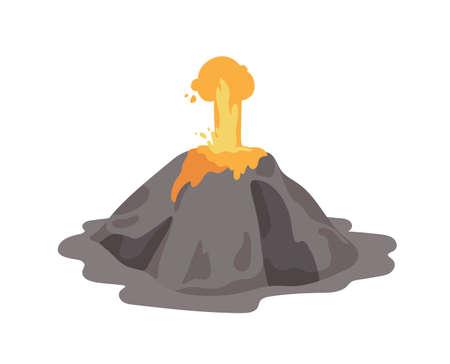 Ausbrechender Vulkan mit Lavafontäne, die aus einem Krater ausstößt, der auf weißem Hintergrund lokalisiert wird. Vulkanausbruch und seismische Aktivität. Naturkatastrophe. Farbige Vektorillustration im flachen Cartoon-Stil