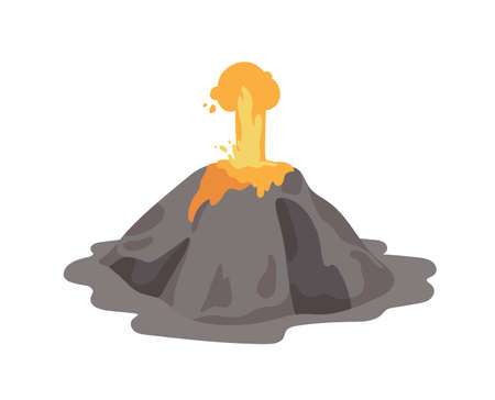 Erupting volcano with lava fountain ejecting from a crater isolated on white background. Volcanic eruption and seismic activity. Natural catastrophe. Colored vector illustration in flat cartoon style