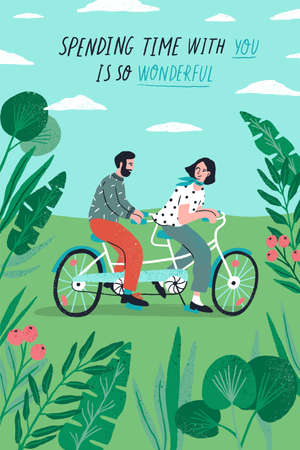 Poster template with cute couple riding tandem bike at park and romantic phrase. Young boy and girl in love or pair of lovers on bicycle. Flat cartoon vector illustration for St. Valentines Day