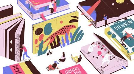 Urocze malutcy ludzie czytający bajki, science fiction, gigantyczne podręczniki. Koncepcja świata książki, czytelników w bibliotece, miłośników literatury czy fanów. Ilustracja wektorowa kolorowe w stylu nowoczesnego kreskówki płaskiej. Ilustracje wektorowe