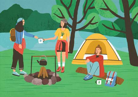 Group of happy girls, female tourists or backpackers sitting and standing beside campfire and tent. Camping in forest, adventure tourism, backpacking, bushcraft. Flat cartoon vector illustration
