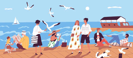 Cute happy people walking along quay or seafront and feeding seagulls against sea or ocean with sail boats on background. Vacation at seaside resort. Flat cartoon colorful vector illustration