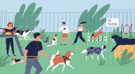 Funny people playing with dogs at playground, yard or park. Happy men and women training domestic animals outdoors. Owners walking with their playful pets. Flat cartoon colorful vector illustration Illustration