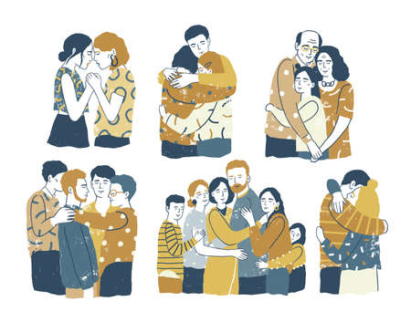 Collection of adorable smiling people standing together and hugging, cuddling and embracing each other. Acceptance, love, support among friends or family members. Flat cartoon vector illustration