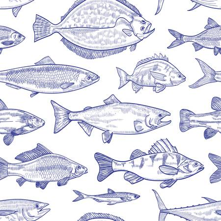 Seamless pattern with fish hand drawn with contour lines on white background. Backdrop with marine animals or aquatic creatures living in sea, ocean, freshwater pond. Monochrome vector illustration