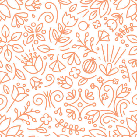 Botanical seamless pattern with lush vegetation of summer meadow. Backdrop with blooming flowers and wild flowering perennial plants. Monochrome vector illustration in line art style for wallpaper