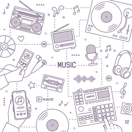 Monochrome banner template with hands, tools and electronic devices for music playing, recording and listening drawn with contour lines on white background. Vector illustration in linear style