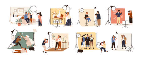 Collection of male and female photographers working at photographic studio and photographing various models during photo session - dog, family, couple, celebrity. Flat cartoon vector illustration Vector Illustratie