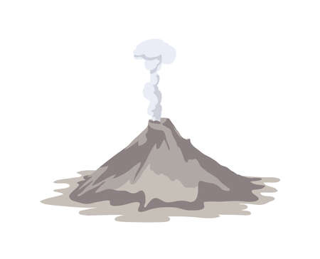 Active volcano erupting and emitting smoke cloud from crater isolated on white background. Spectacular volcanic eruption. Natural disaster or hazard. Colored vector illustration in flat cartoon style Ilustração