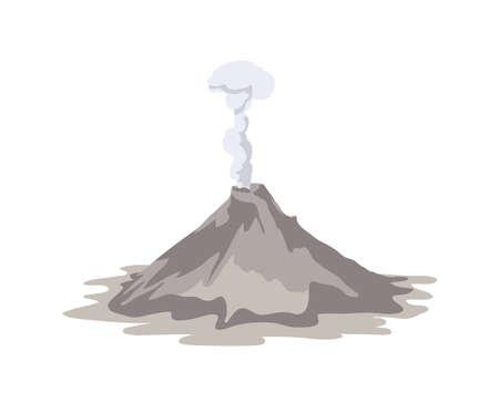 Aktiver Vulkan, der aus dem Krater isoliert auf weißem Hintergrund ausbricht und Rauchwolke emittiert. Spektakulärer Vulkanausbruch. Naturkatastrophe oder Gefahr. Farbige Vektorillustration im flachen Cartoon-Stil