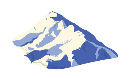Mountain range covered by ice, snow or glacier isolated on white background. Mount for adventure travel, hiking, exploration. Natural landform, touristic landmark. Colorful vector illustration Stock Illustratie