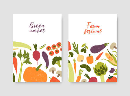 Bundle of poster or flyer templates with fresh organic locally grown vegetables and place for text on white background. Vector illustration for farm festival, green market, grocery shop advertisement