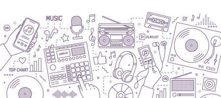 Monochrome banner with hands and various electronic devices for music playing, listening and creation drawn with contour lines on white background. Modern vector illustration in lineart style