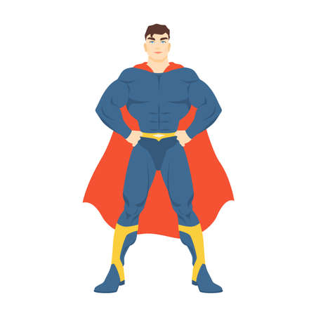 Male superhero. Man with muscular body wearing bodysuit and cape standing in powerful posture. Fantastic character with super power. Colorful vector illustration in flat cartoon style.