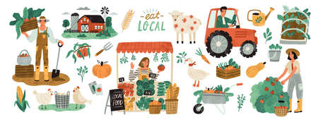 Local organic production set. Agricultural workers planting and gathering crops, working on tractor, farmer selling fruits and vegetables, farm animals, farmhouse. Flat cartoon vector illustration