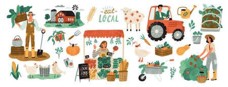 Zestaw lokalnej produkcji ekologicznej. Robotnicy rolni sadzący i zbierający plony, pracujący na traktorze, rolnik sprzedający owoce i warzywa, zwierzęta gospodarskie, gospodarstwo rolne. Ilustracja wektorowa płaski kreskówka