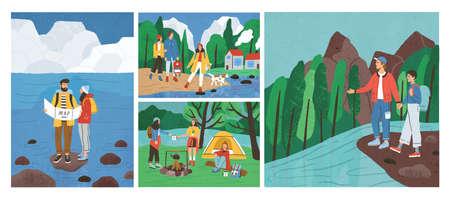 Raccolta di scene con amici che fanno escursioni o viaggi con lo zaino nella foresta o nei boschi al fiume o al mare. Set di giovani turisti o backpackers in campeggio, viaggi d'avventura. Illustrazione vettoriale di cartone animato piatto Vettoriali