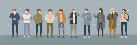 Collection of people in protective face dust masks. Bundle of men and women wearing protection from urban air pollution, smog, vapor, pollutant gas emission. Flat cartoon coloful vector illustration Ilustração