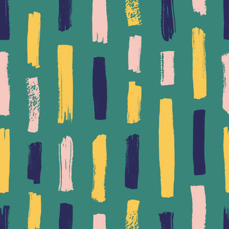 Creative seamless pattern with vivid paint traces or smudges on green background. Artistic backdrop with vertical brushstrokes. Modern vector illustration in grunge style for textile print, wallpaper