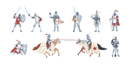 Collection of knights. Bundle of warriors holding sword, shield, mace or fighting in battle isolated on white background. Set of medieval heroes wearing armor. Flat cartoon illustration.