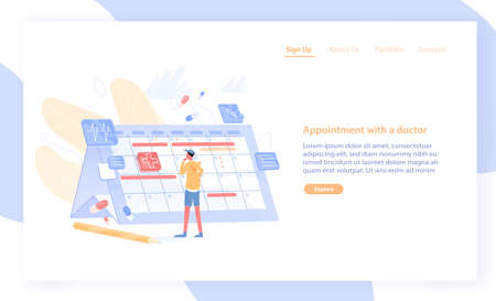 Website or web banner template with man looking at giant calendar and choosing date to visit physician. Online doctor appointment scheduling service. Flat cartoon illustration for promotion.