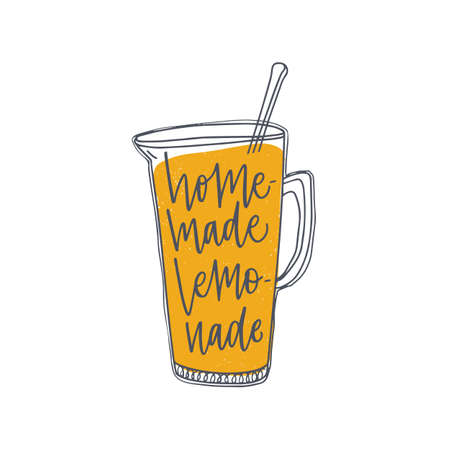 Homemade Lemonade inscription or phrase handwritten with elegant cursive calligraphic font on jug or pitcher. Fresh sweet organic soft drink, delicious summer beverage. Hand drawn vector illustration