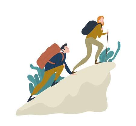 Cute romantic couple climbing up cliff or mountain. Pair of funny hikers, tourists or climbers isolated on white background. Happy boy and girl hiking or trekking. Flat cartoon vector illustration