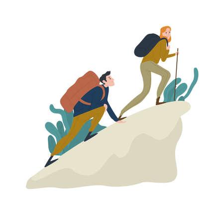 Linda pareja romántica subiendo acantilado o montaña. Par de divertidos excursionistas, turistas o escaladores aislados sobre fondo blanco. Feliz niño y niña senderismo o trekking. Ilustración de vector de dibujos animados plana
