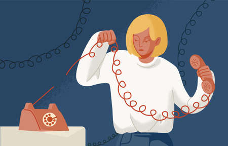 Young woman holding telephone with torn wire. Concept of break up, cessation of communication or connection, disconnect, breaking of unnecessary social ties. Flat cartoon colorful vector illustration 일러스트