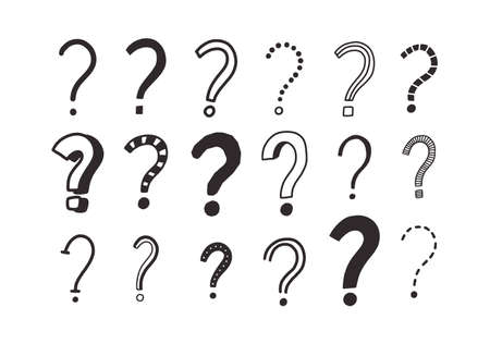Collection of doodle drawings of question marks. Bundle of interrogation points hand drawn with black contour lines on white background. Riddle or challenge symbols. Monochrome vector illustration Иллюстрация