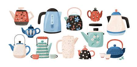 Kolekcja czajników i czajników na białym tle. Ozdobne przybory kuchenne, sprzęty gospodarstwa domowego, ceramiczne naczynia do picia lub szkło do ceremonii parzenia herbaty. Ilustracja wektorowa płaski kreskówka